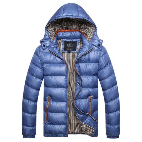 UK Men Heavy Weight Fur Hooded Parka Padded Winter Warm Coat Jacket Outwear S-XL
