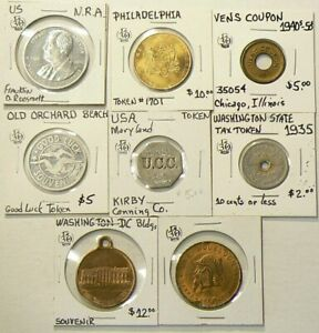 US-Tokens-Medals-Lot-of-8-Tax-NRA-Good-Luck-Penn-4832