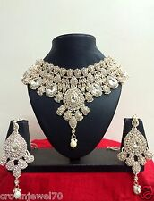 Diamond and Crystal Bridal Necklace Set with Earrings and Tikka