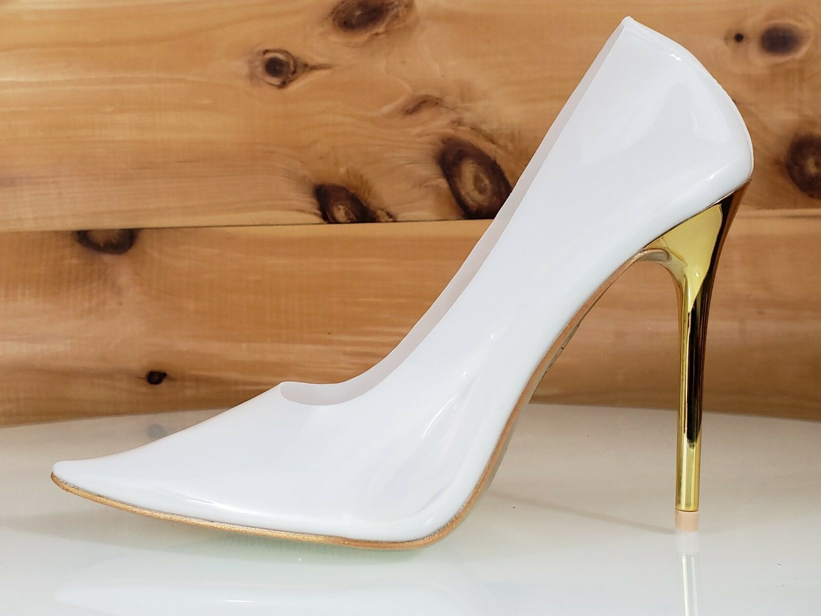 Mac J Transparent White Pointy Toe Pump gold 4.5 High Heel   Sole shoes 7-11
