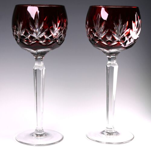 AJKA Signed Carilla Ruby Deep Red Cut to Clear Wine Hocks - Set of 2 - Gorgeous!