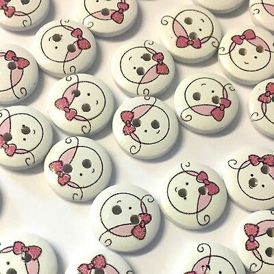 10 x 15mm pink patchwork castle wooden buttons with cute girly design