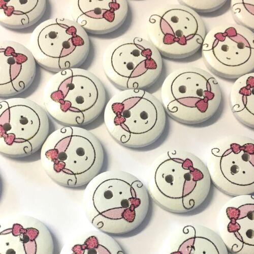 10 x BLANC 15 mm en bois boutons avec Fille Mignonne face