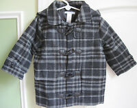 Janie And Jack Boys Winter Gray Wool Toggle Coat/jacket Size 12-24 Months