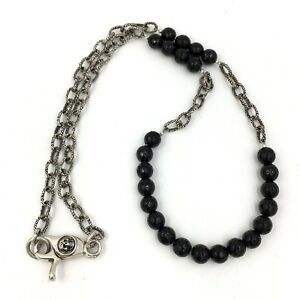 a3176a25c418e8 Image is loading Onyx-Bead-Sterling-Silver-Chain-Mens-Necklace-Skull-