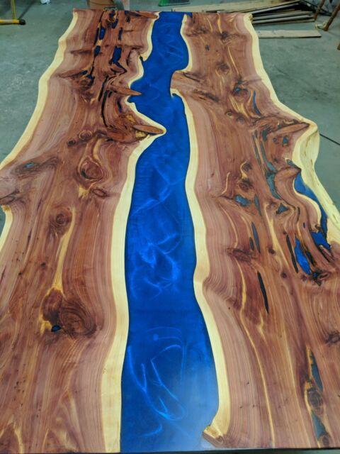 Live Edge Cedar Resin River Blue Bar Top Table Coffee Table