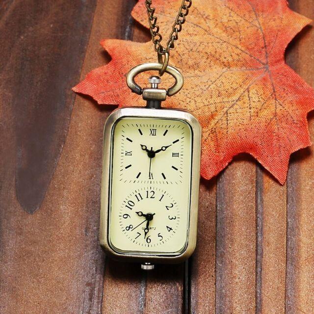 80CM Necklace Square Double Time Zone Movement Quartz Pocket Watch Gift