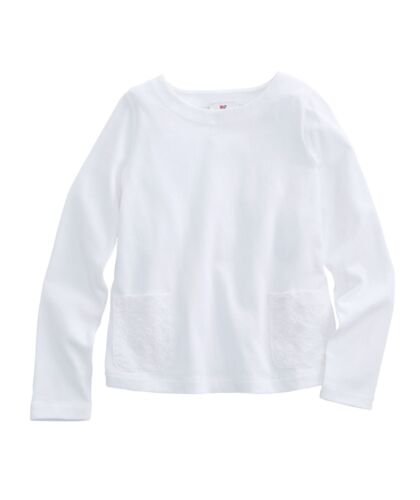 NWT Vineyard Vines Girls' Solid Woven Combo Eyelet LS Tee White Cap $49.50 (8O)