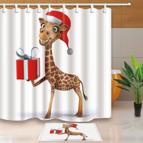 Merry Chrismas Giraffe And Gift Bathroom Fabric Shower Curtain Set 71Inch Long