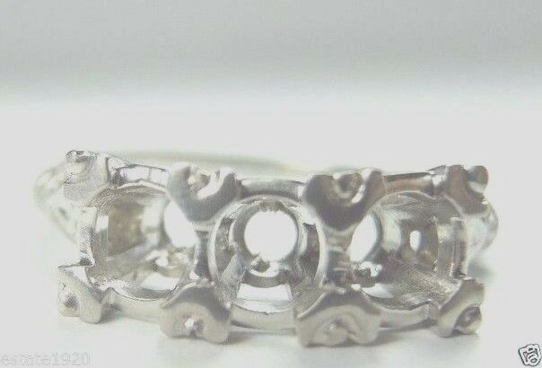 Antique Vintage Art Deco Ring Setting Mounting 14K White gold Hold 1-5MM 2-4.5MM