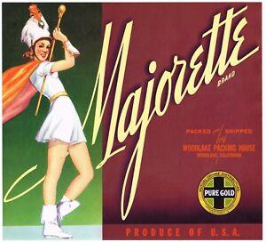 Details about ORIGINAL CRATE LABEL MAJORETTE 1940S VINTAGE MARCHING BAND  DRUM MAJOR WOODLAKE