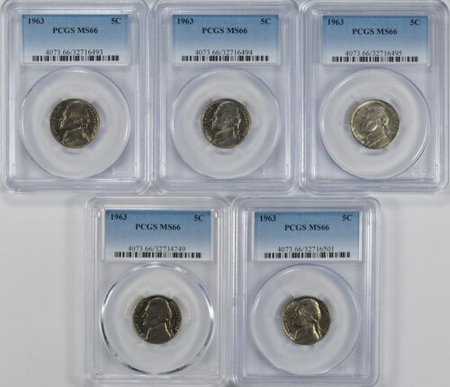 1963 Jefferson Nickel PCGS MS66 Tough Graded Find Price Per Nickel