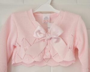 f4167d359 Spanish Style Baby Girl Pink Cardigan   Bolero with Bow.