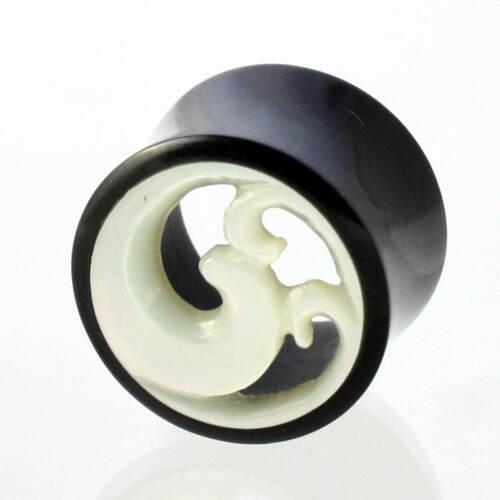 22mm cuerno madreperla bollos túnel Tube ear Plug oreja piercing 310 Par 8mm