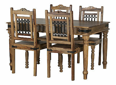 Jali Solid Sheesham Rosewood Dining Table & 4 Assembled Dining Chairs RRP £469!!