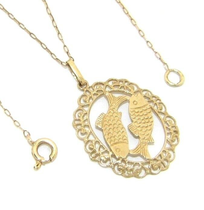 Ladies womens 9ct 9carat gold 'Pisces' sign pendant on a fine 18  chain