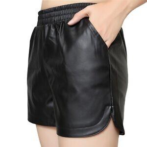 a basso prezzo c638e 049e1 donna similpelle shorts EFFETTO BAGNATO Biker Pantaloncini ...