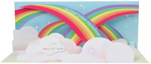 LICHT Pop Up 3D Panorama Karte Geburtstag Grußkarte Regenbogen 10x23cm