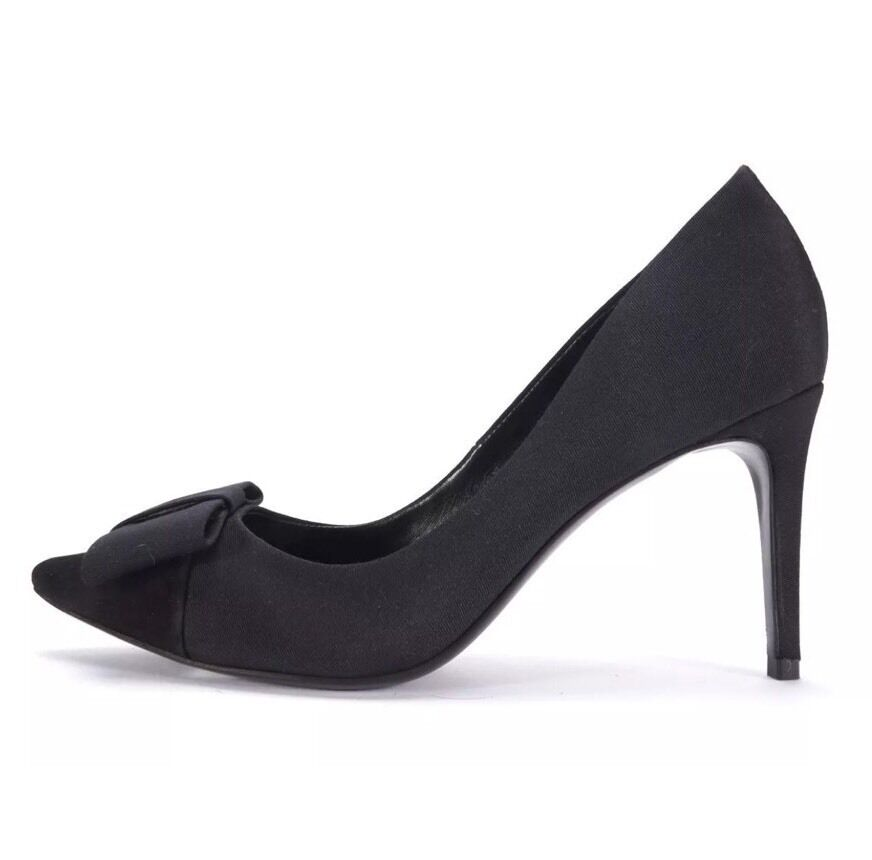 TORY BURCH Black Canvas Suede Cap Toe Bow Pointed Toe Toe Toe Pumps Size 8.5 97a2f1