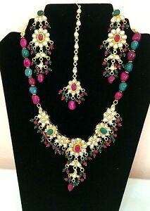 Bollywood Designer Gold Plated Partywear Kundan Necklace, Earrings & Tikka Set