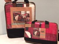 Aspen & Pine Sherpa Buffalo Check 3 Pc Full / Queen Quilt Shams Set Black Red