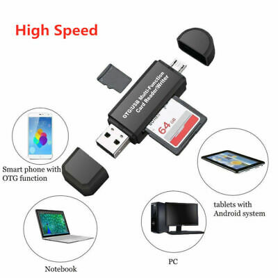 Portable USB2.0 Memory Card Reader Adaptor for SD MMC SDHC TF Card UP To 64GB US