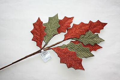 6 x GREEN & BURNT ORANGE BURLAP HESSIAN HOLLY LEAF SPRAY 44cm CHRISTMAS CRAFT