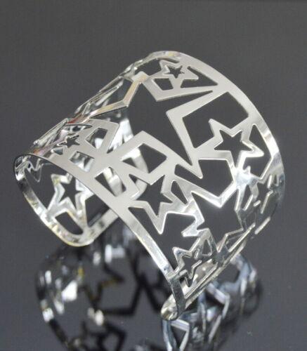 XL Armband Breit Armreif Metall Armspange Manchette Stern Silber Farbe