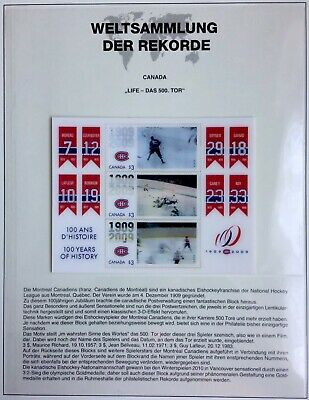 Gastfreundlich Canada 2009 Centenary Of Montreal Canadiens Ice Hockey 3-d Lenticular Block Mnh üBerlegene (In) QualitäT