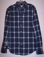 Merona Shirt M Men's Blue Cotton Long Sleeve Plaid Button Down Casual