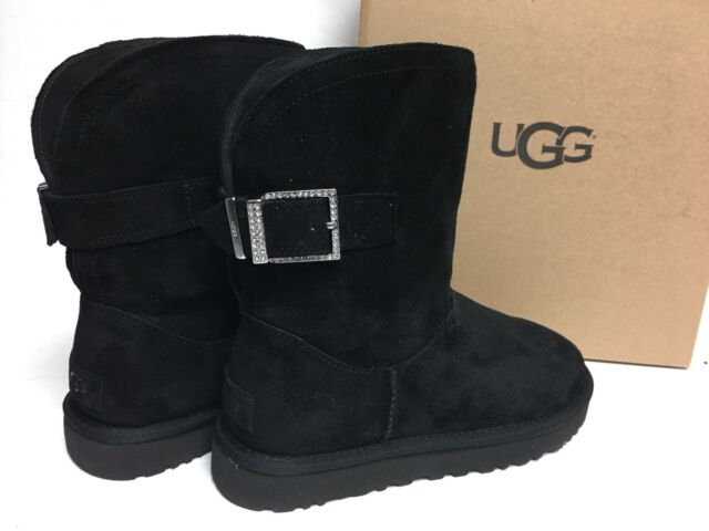632f0a83d12 UGG Australia Remora Buckle Bling Crystal Boot Short 1092709 Black  Sheepskin sz