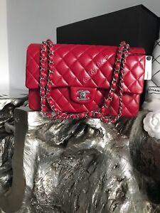 3892d91d9646 NWT CHANEL 2018 18B Dark Pink Caviar Medium Classic Double Flap Bag ...