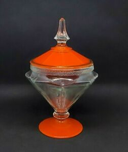 Vintage-Compote-w-Lid-Vibrant-Orange-Candy-Dish-Pedestal-Footed-Gold-Rim-9-034-Fall