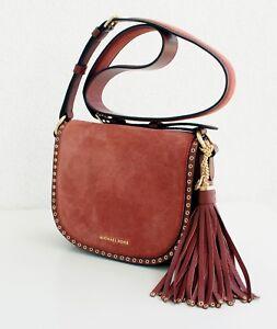 4acf7598aaa6 Michael Kors Bag Shoulder Bag Brooklyn Medium Saddle Suede Brick New ...