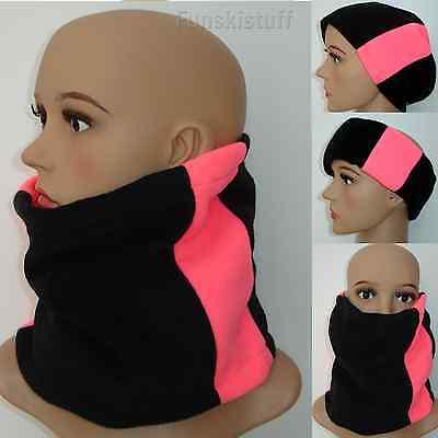 ladies girls woman Neck warmer scarf snood BLACK HOT PINK fleece school skiing
