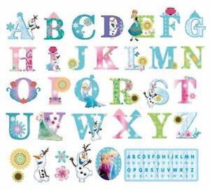 Frozen A-Z alphabet wall sticker, Olaf, Anna, Elsa, Disney ...