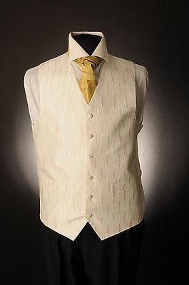 2019 Mode W-604 Mens Beige With Gold Detail Wedding Waistcoat Formal/dress/wedding/suit