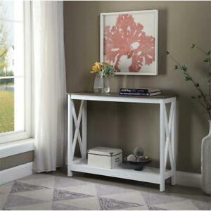Convenience Concepts Driftwood Oxford Console Table in White Wood Finish