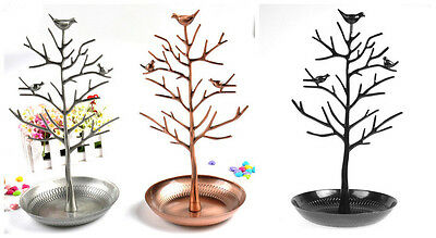 HS88 ONE Bird Tree Stand Jewelry Earrings Necklace Display Ring Holder Show Rack