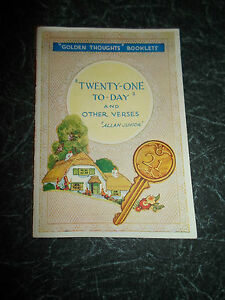 034-Golden-Thoughts-034-Booklet-034-Twenty-One-To-Day-034-And-Other-Verses-by-Allan-Junior