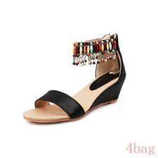 f6b2ce7d75b5 Bohemia Summer Womens Ankle Strap Wedge Heel Mutli Color Tassel Sandals  Shoes SZ