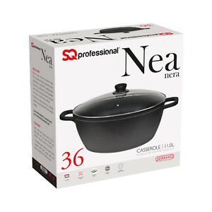 Non-Stick-Die-Cast-Deep-Casserole-Oven-Dish-Stockpot-Soup-Pot-Pan-Glass-Lid-36cm