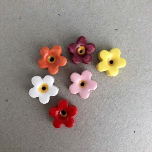 Craft Supplies x6 Art - Multicoloured ~ Mosaic Inserts 12mm CERAMIC FLOWERS