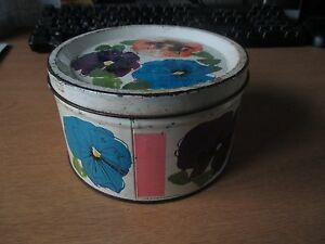 VINTAGE-CADBURY-039-S-LUCKY-NUMBER-PANSY-PATTERNED-TIN