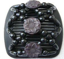 "Matte BLACK BUTTERFLY Style Magic Double Comb hair set stretchy 4"" wood beads"