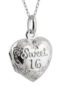 a2ee99452384 Sweet 16 Locket Necklace - 925 Sterling Silver 2 Photos Teen Girls ...