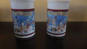 2-Royal-Norfolk-Mugs-Folk-Art-Tall-4-5-8-034-Christmas-Holidays