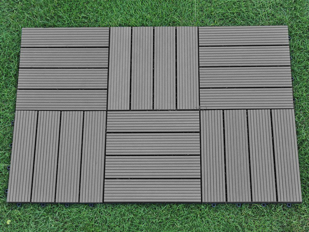 6 pack 12x12 inch outdoor 4 slat composite interlocking for Flat pack garden decking