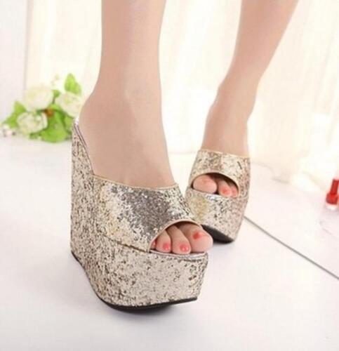 Women/'s Sequins Open Toe Platform Wedge high Heel Slippers Casual Sandals Shoes