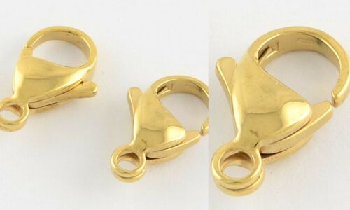 12mm x 7mm Gold Lobster Clasp Stainless Steel Claw Hook Findings Supplies
